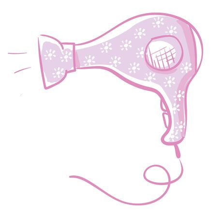 A hair dryer in violet color with in colorful floral designs vector color drawing or illustration