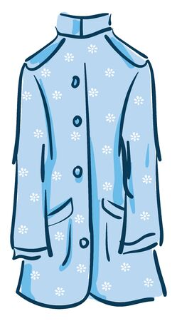A long coat in blue color with floral designs buttons and pocket on it vector color drawing or illustration Vektorové ilustrace