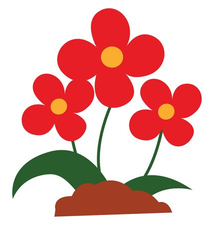 A bunch of red beautiful flowers with leaves vector color drawing or illustration Stok Fotoğraf - 132663092