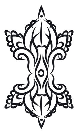 A floral decoration in black to be hanged in the wall vector color drawing or illustration