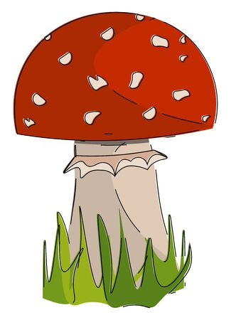 A picture of mushroom in red color vector color drawing or illustration Иллюстрация
