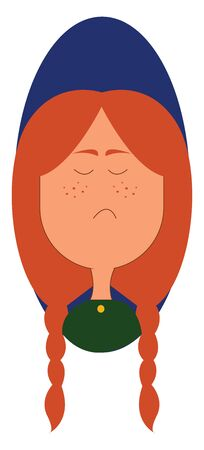 A sad girl with lot of freckles on her face vector color drawing or illustration Stock Illustratie