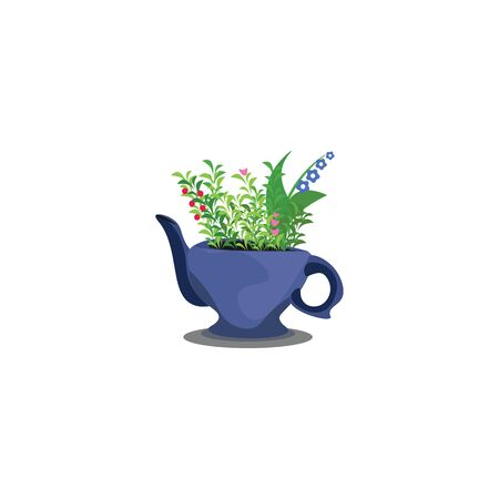 A small teapot with bunch of flowers growing in it vector color drawing or illustration