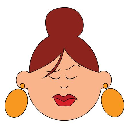 A lady in bun with big earrings in yellow color vector color drawing or illustration Vetores