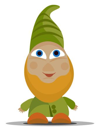 A picture of a dwarf in green dress with a long green cap vector color drawing or illustration