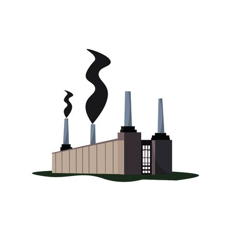 A factory with a long compound wall and emitting smoke causing pollution vector color drawing or illustration