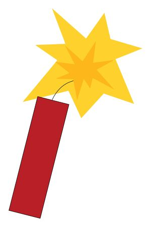 A single dynamite which is ready to explode with a fire vector color drawing or illustration