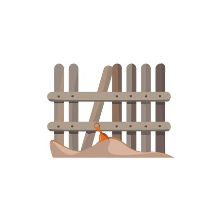 A brown unpainted fence along beach sand with a sand play toy vector color drawing or illustration 写真素材 - 132663427