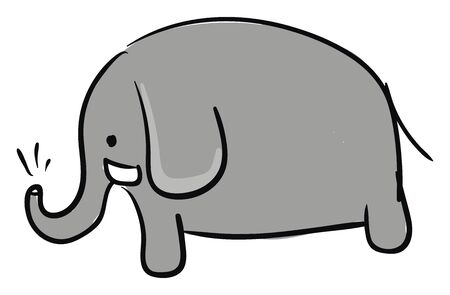 A picture of a small elephant with water in its trunk vector color drawing or illustration