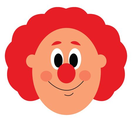 A face of a clown with big nose and a orange hair vector color drawing or illustration