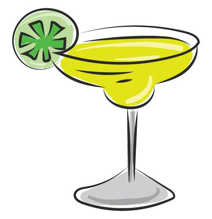 A glass of fresh cocktail with a piece of lemon vector color drawing or illustration 版權商用圖片 - 132664633