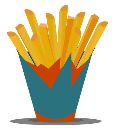 A pocket of French fries freshly prepared to be served hot vector color drawing or illustration Illusztráció