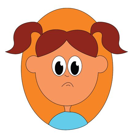 A small school girl in blue dress seems to be sad vector color drawing or illustration Illusztráció