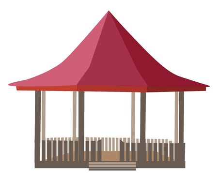 A well constructed gazebo in wood with red roof vector color drawing or illustration