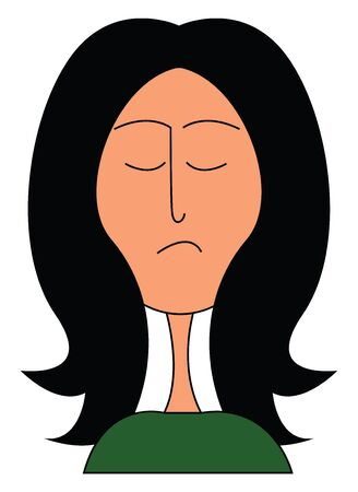 A girl with long dark black hair wearing a green dress vector color drawing or illustration