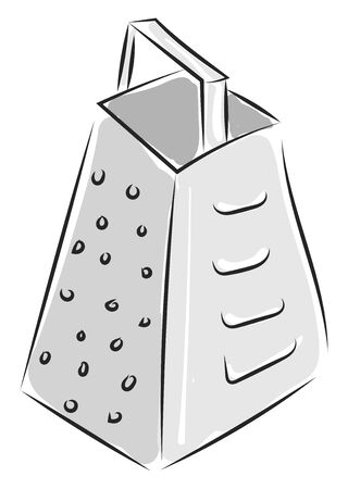 A silver grater to chop vegetables vector color drawing or illustration