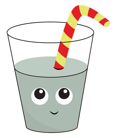 A glass half filled with water with a striped straw in it vector color drawing or illustration