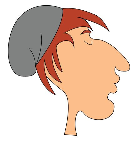 A lazy man with red hair wearing grey hat vector color drawing or illustration Ilustracja