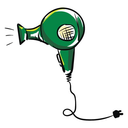 A green hair dryer with black socket wire vector color drawing or illustration