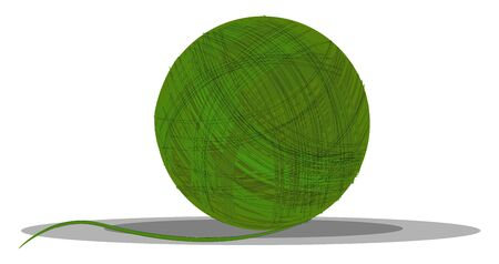 A ball of green yarn made out of cotton vector color drawing or illustration