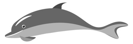 A single small dolphin in water vector color drawing or illustration
