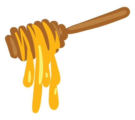 Sweet honey dripping from the stick vector color drawing or illustration