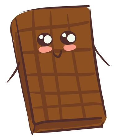 A cute happy chocolate bar with two hands and eyes vector color drawing or illustration Banque d'images - 132663488