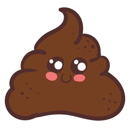 A cute brown turd with pink chin and two eyes vector color drawing or illustration