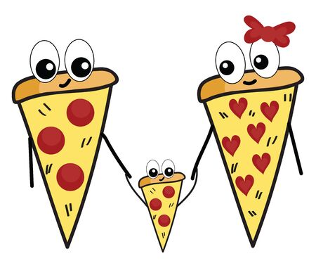 A cute pizza family with mom dad and child vector color drawing or illustration