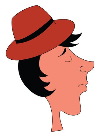 Profile for a fair guy in black hair wearing red hat vector color drawing or illustration