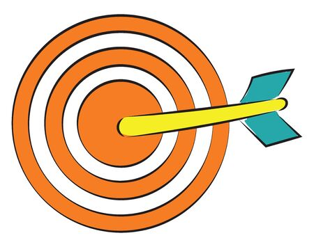 Magnetic dart in orange color with a arrow in it vector color drawing or illustration