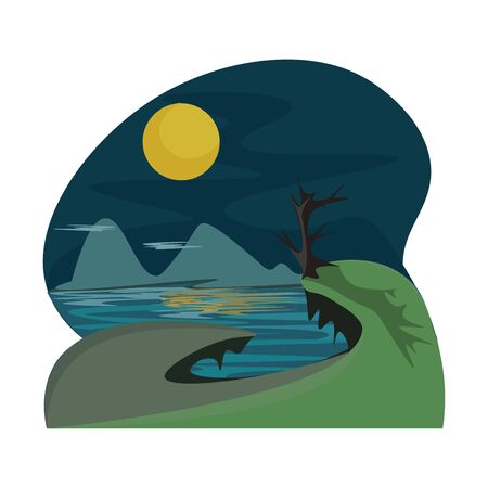 A dry landscape with a view to mountain dark night and moon vector color drawing or illustration