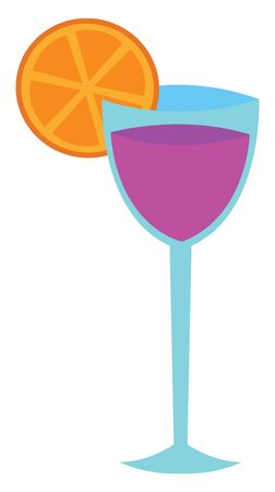 A glass of cocktail in violet color with a piece of orange vector color drawing or illustration