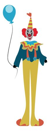A funny clown dressed colorfully with a balloon in his hand vector color drawing or illustration Ilustração
