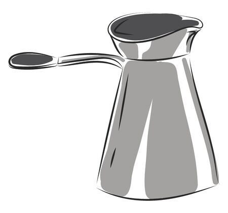 A coffee maker in steel with a long handle to it which helps to serve hot vector color drawing or illustration