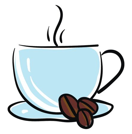 Coffee mug in a blue color full of coffee with coffee bean vector color drawing or illustration