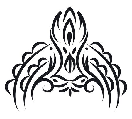 A beautiful wall decor in black color vector color drawing or illustration