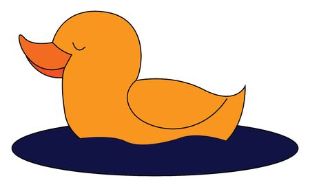 A small cute duck sleeping in still water vector color drawing or illustration