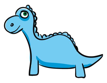 A young dinosaur in blue color with a happy face vector color drawing or illustration