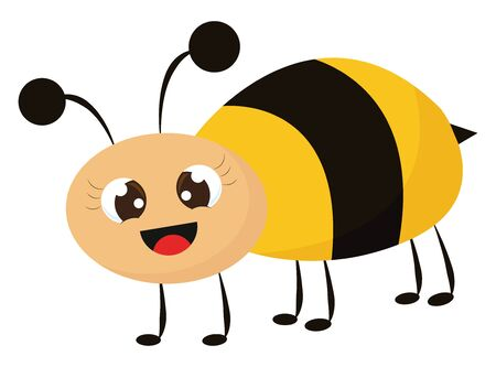 A cute bee with large eyes and happy face vector color drawing or illustration