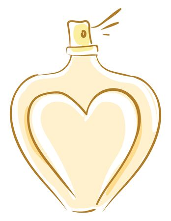 A perfume container in heart shape in yellow color vector color drawing or illustration 向量圖像