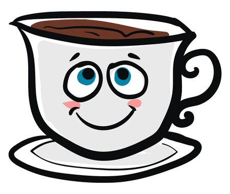 A white coffee cup with a beautiful smiley vector color drawing or illustration