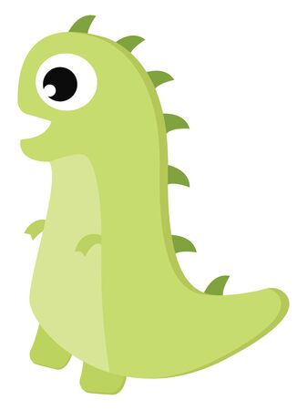 A cute green dinosaur with horns vector color drawing or illustration