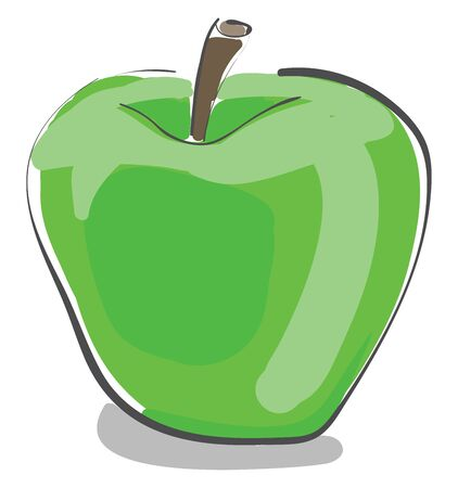 A fresh green apple got from apple tree vector color drawing or illustration