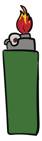 A green lighter with grey top giving out red hot flame vector color drawing or illustration