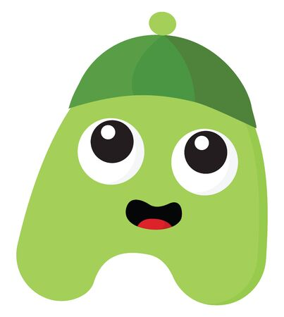 An innocent green monster with a green round hat vector color drawing or illustration