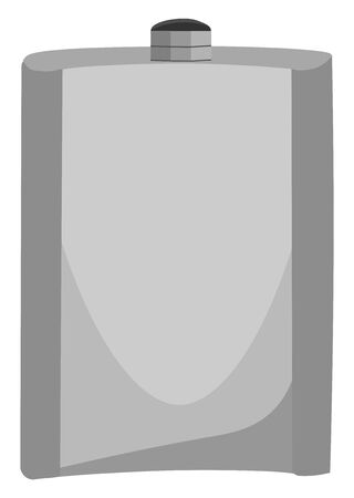 A flask in silver color with a air tight closed lid vector color drawing or illustration