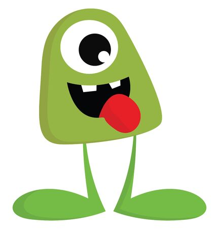 An ugly scaring green monster with a large eye and no hands vector color drawing or illustration