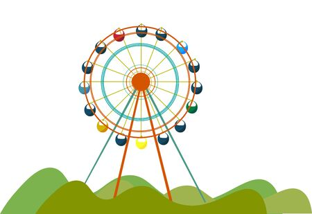 A giant Ferris wheel in the park for the kids to play vector color drawing or illustration