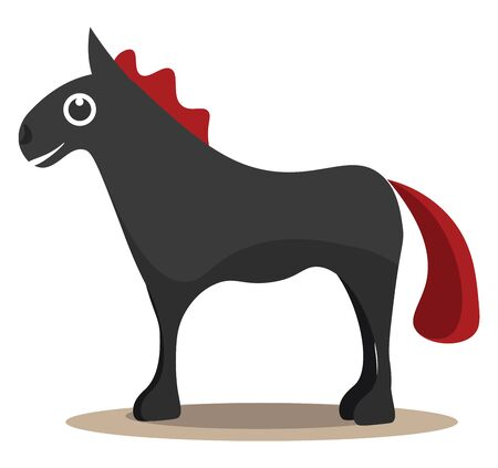 A tall black horse with a bright red tail vector color drawing or illustration